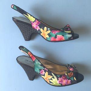 Anne Klein Floral Wedge Low Heel sz 9.5